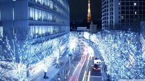 blue lights in tokyo wallpaper