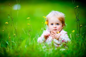 Baby Girl Sitting Grassland