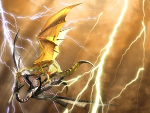 Two Dragon Fighting Wallpaper