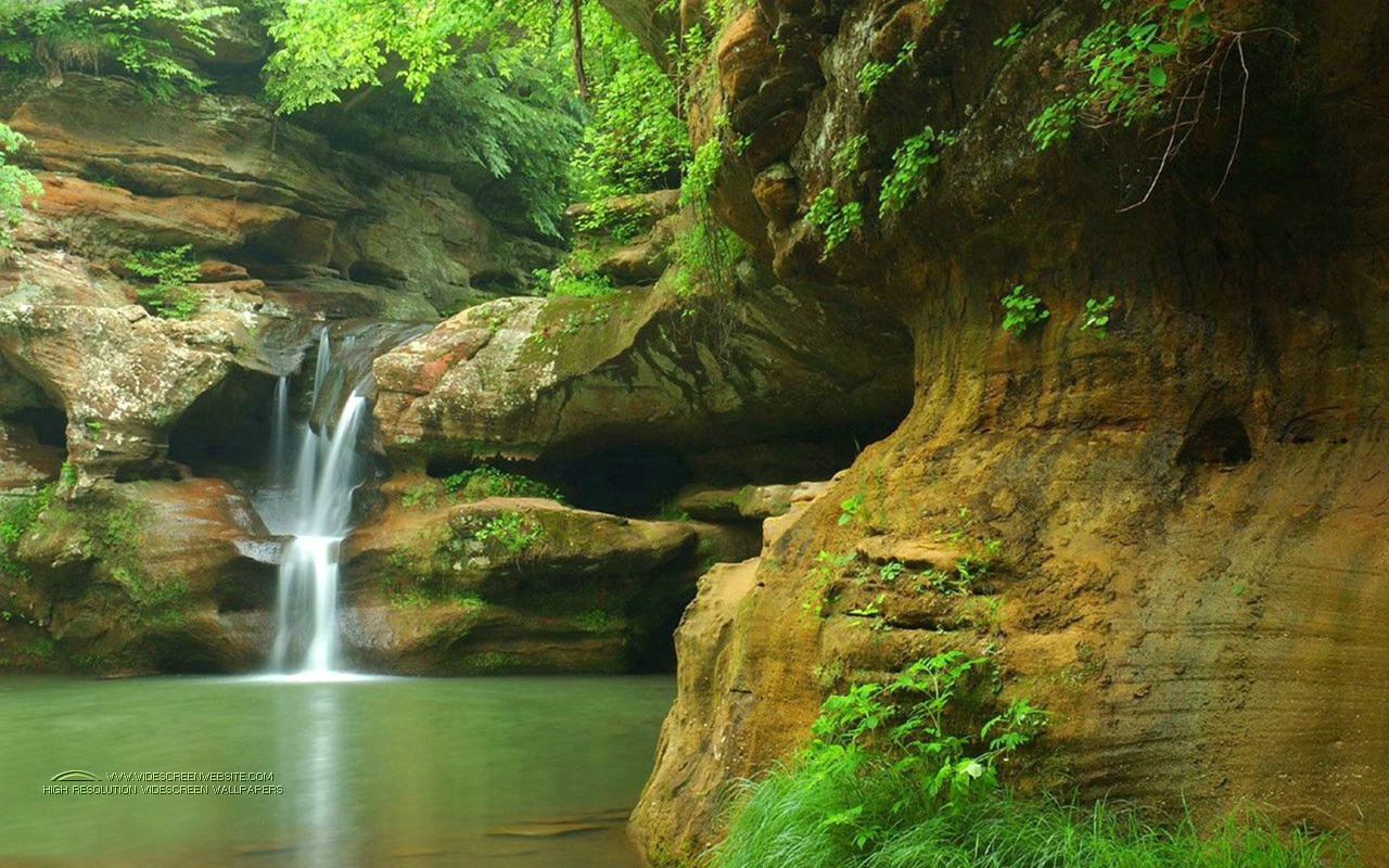 Waterfall Pond Nature Wallpaper