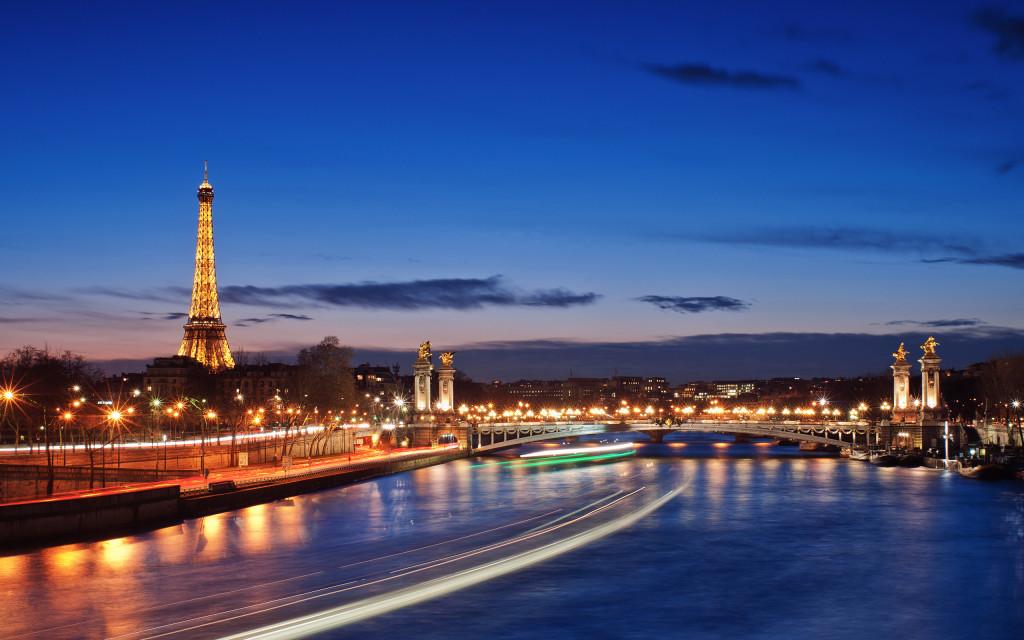 City Paris France River Evening Lights