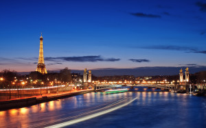 City Paris France River Evening Lights