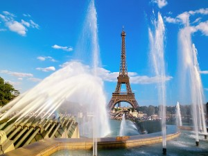 /Eiffel Tower and Fountain Paris France