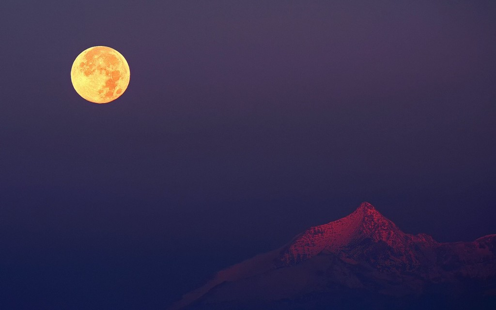 Moon in Mountain Wallpaper