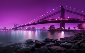 Purple Manhattan Bridge