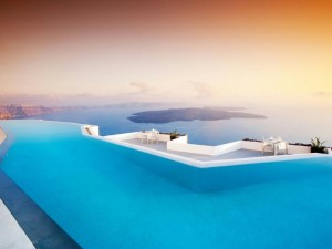 Swimming Pool in Santorini Wallpaper