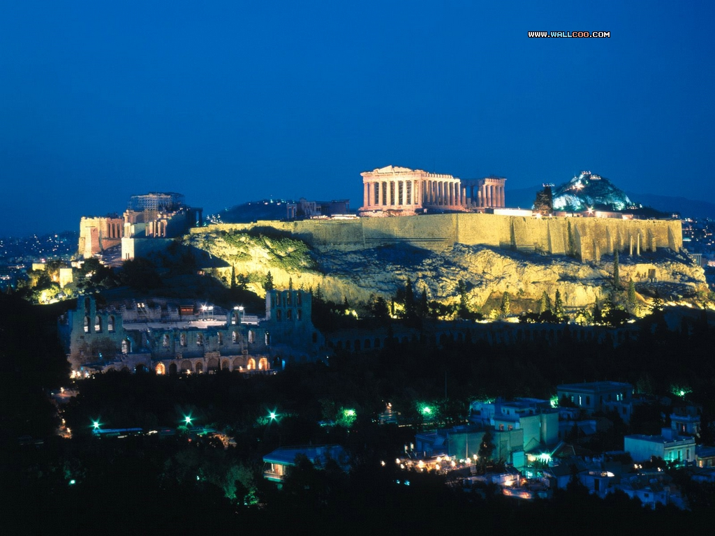 Acropolis Night Athens Greece Wallpaper