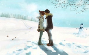 Anime Love Couple Kiss HD Wallpaper