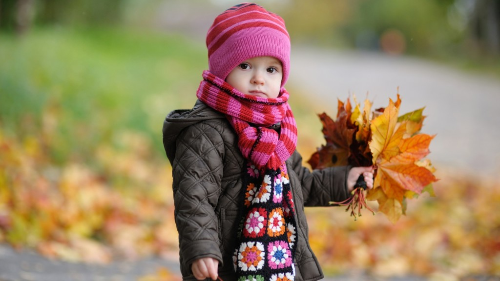 Cute Baby in Autumn Wallpaper