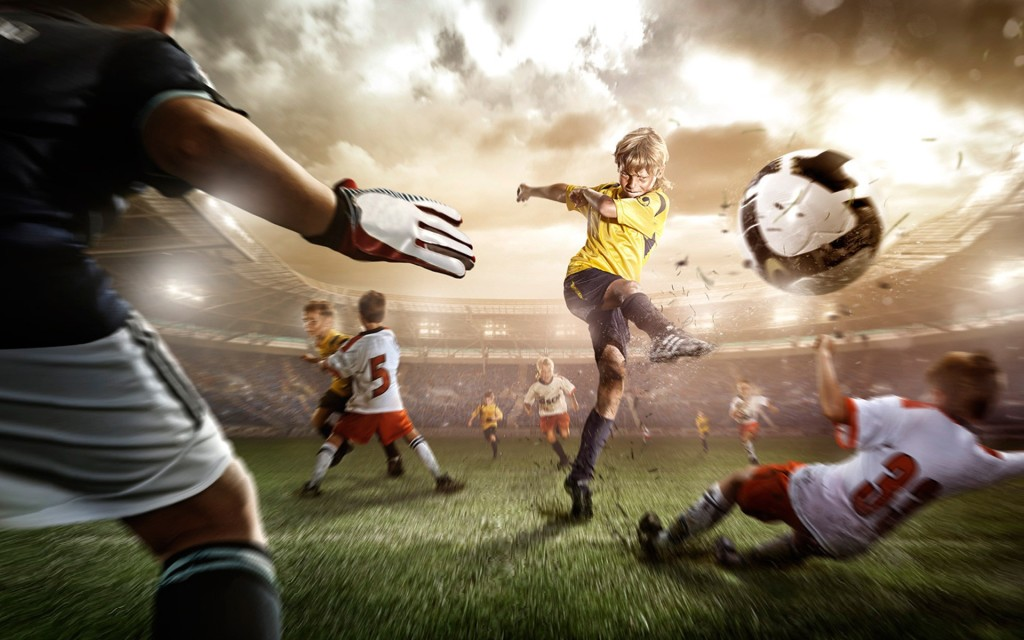 Playing Football Wallpaper