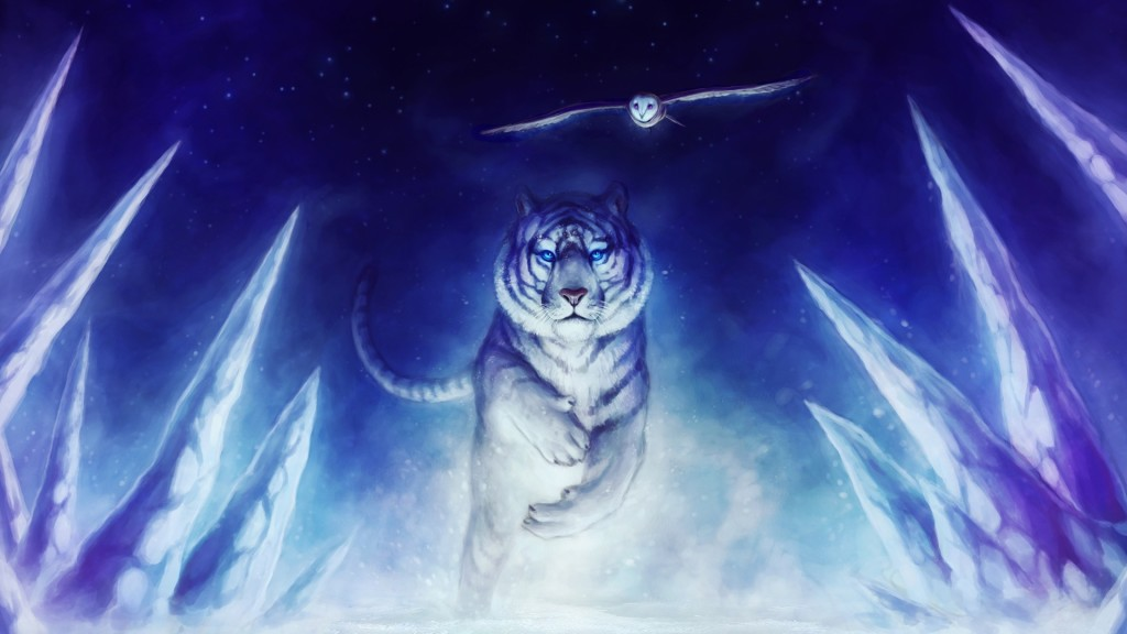 White Tiger And Owl Wallpaper