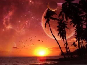 alien planet sunrise